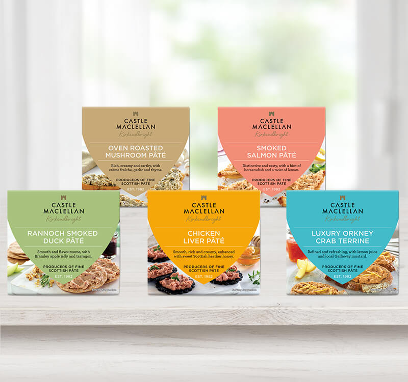 The Castle MacLellan range of pâtés sitting on a white window ledge