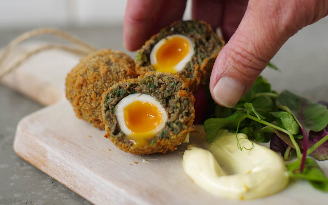 Scotch Egg with Gin and Tonic Crème Fraiche