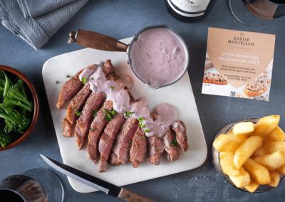 Seared Sirloin with Oven Roasted Mushroom and Stilton Sauce