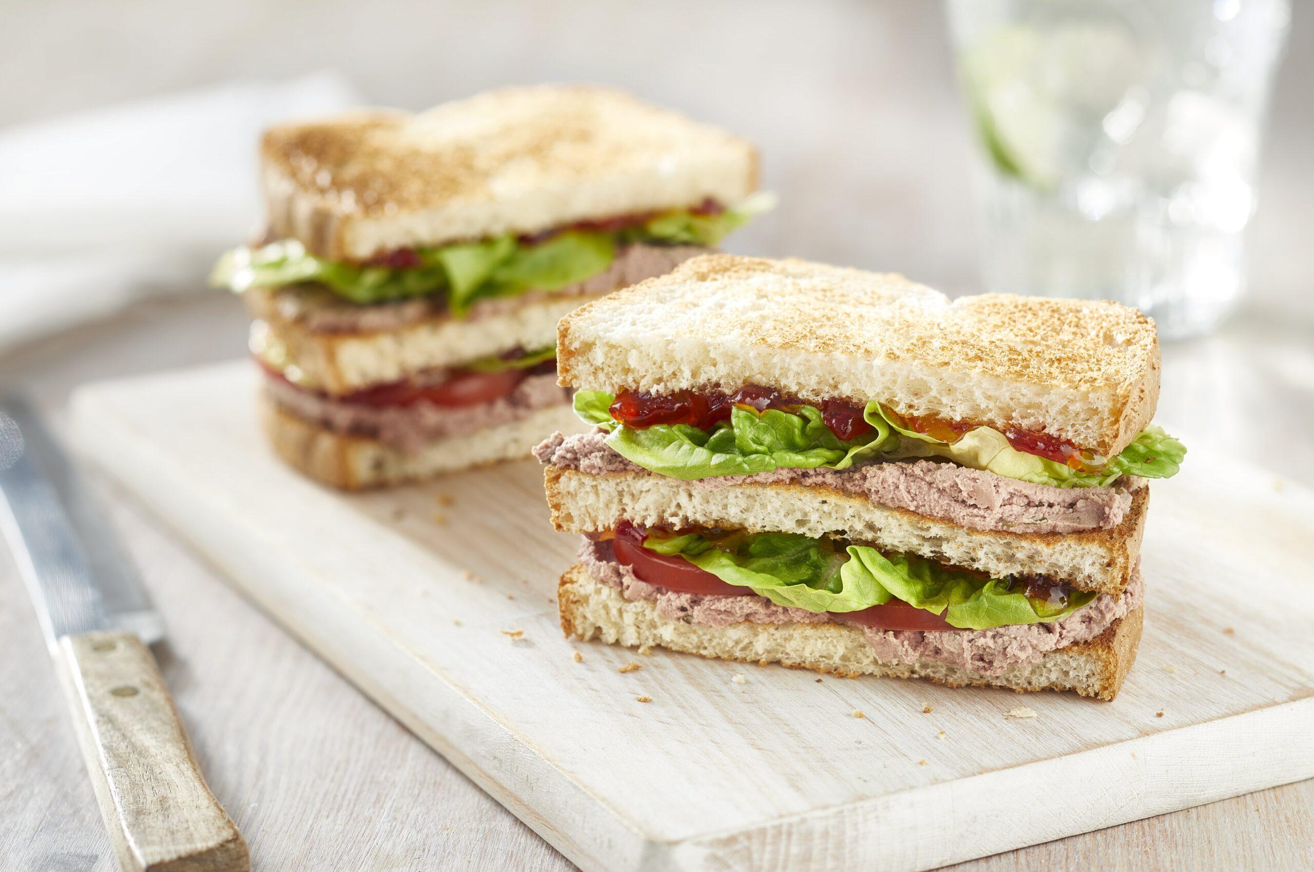 Chicken Liver Pate Club Sandwich